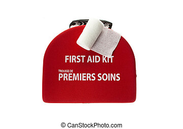 first aid box with a rolled gauze bandage
