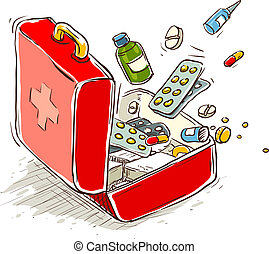First aid box with medical drugs and pills