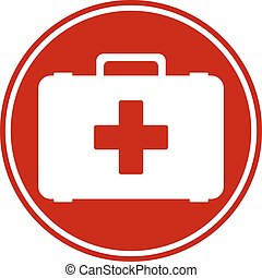 First aid button on white background. Vector illustration.