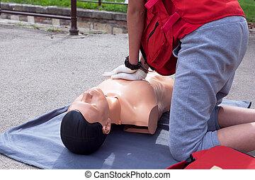First aid. Cardiac massage.