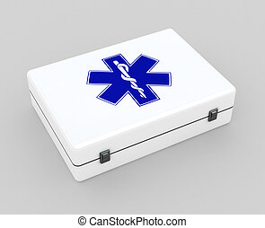 First aid kit case concept on grey background