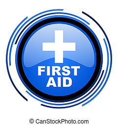first aid circle blue glossy icon