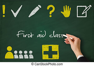 First aid class training sketched on a chalkboard