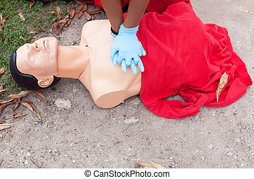 First aid. CPR. - Heart massage. Cardiopulmonary...