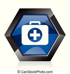 First aid dark blue glossy hexagon geometric diamond vector web icon with reflection on white background. Modern design hexagonal internet button.