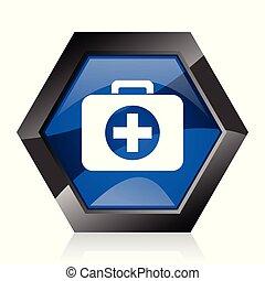 First aid dark blue glossy hexagon geometric diamond vector web icon with reflection on white background. Modern design hexagonal internet button.