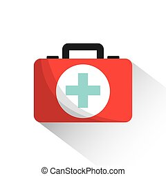 first aid design - first aid briefcase over white background...