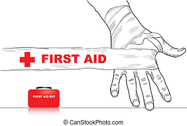 First Aid - Creativity on first aid. Bandaged hand. Vector...