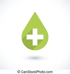 First aid drop green sign flat style