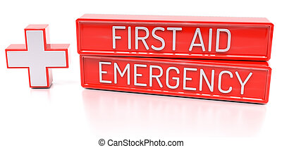 First aid, Emergency - 3d banner, isolated on white background