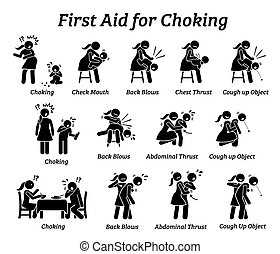 First aid emergency treatment for choking stick figures icon.