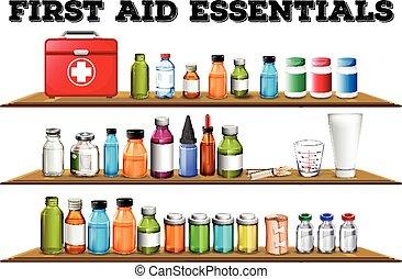 First aid essentials on the shelf illustration