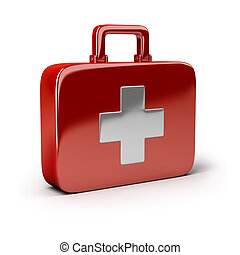 First-aid set. 3d image. Isolated white background.