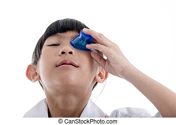 First Aid flush eyes with medicine washing white background