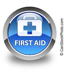 First aid glossy blue round button