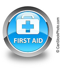 First aid glossy cyan blue round button