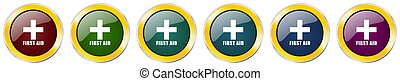 First aid glossy icon set, silver metallic golden vector illustrations in 6 options for web design and mobile applications