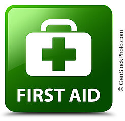 First aid green square button