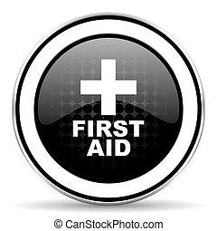 first aid icon, black chrome button