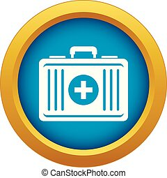 First aid icon blue vector isolated