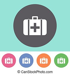 First aid icon - Vector first aid icon on round colorful...