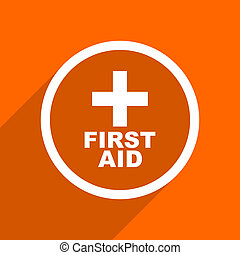 first aid icon. Orange flat button. Web and mobile app design illustration