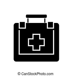 first aid icon, vector illustration, black sign on isolated...