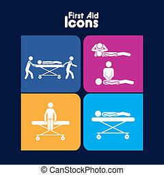 first aid icons over blue background vector illustration