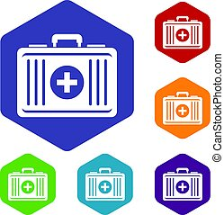 First aid icons set hexagon
