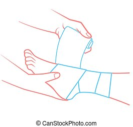 hand that bandaging the foot - first aid in the form of a ...