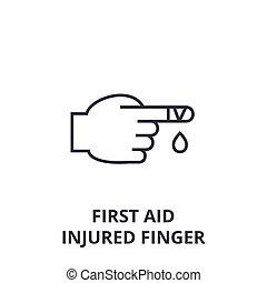 first aid, injured finger line icon, outline sign, linear symbol, vector, flat illustration