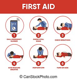 First aid instructions infographics and vector icons of medical help for life saving. Illustration of emergency artificial respiration or rescue breath, pulse check and ambulance call