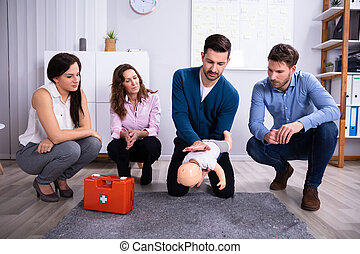 First Aid Instructor Giving Training