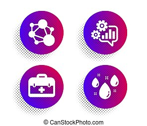 First aid, Integrity and Cogwheel icons set. Rainy weather sign. Vector