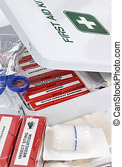 An open First Aid Kit with the contents in View