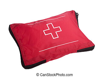 First Aid Kit - A camping first aid kit, isolated on white...
