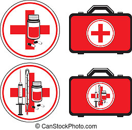 First aid kit and medical icons. Vector illustration