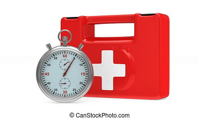 First aid kit and stopwatch on white background. Isolated 3D render