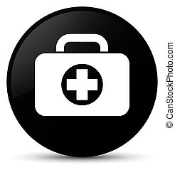 First aid kit bag icon black round button