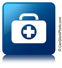 First aid kit bag icon blue square button