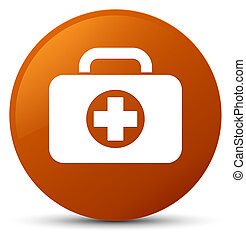First aid kit bag icon brown round button