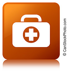 First aid kit bag icon brown square button