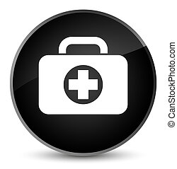 First aid kit bag icon elegant black round button