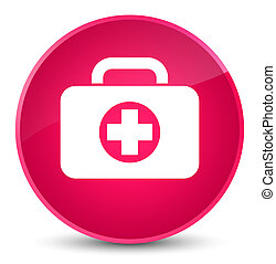 First aid kit bag icon elegant pink round button