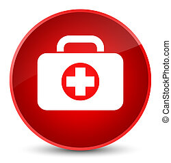 First aid kit bag icon elegant red round button