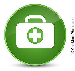 First aid kit bag icon elegant soft green round button