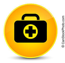 First aid kit bag icon elegant yellow round button