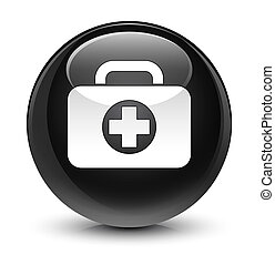 First aid kit bag icon glassy black round button