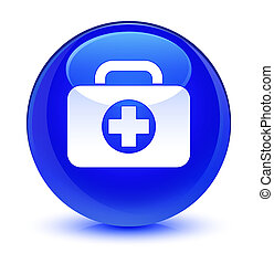 First aid kit bag icon glassy blue round button