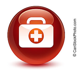 First aid kit bag icon glassy brown round button